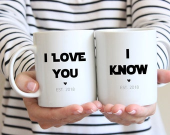 Star Wars, I Love You I Know Mug Set, Star Wars Gift, Wedding Gift, Anniversary Gift, Engagement, Gift Gift for him, Star