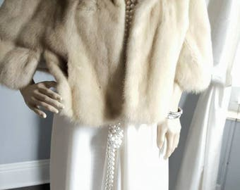 LUXURY Vintage Tourmaline Mink Fur Stole | Beige Blonde Champagne | Mink Fur Cape | Bolero Shrug  Shawl  Wrap Coat -Jacket  Bridal Wedding