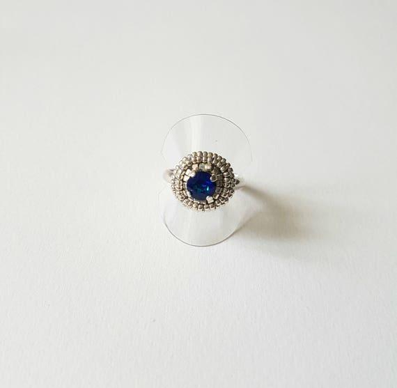 Small Crystal ring lagon blue