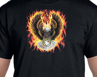 NA - FLAMING EAGLE   -  T-shirt - Color Options - S-5X - 100% cotton heat press t's   Free Shipping