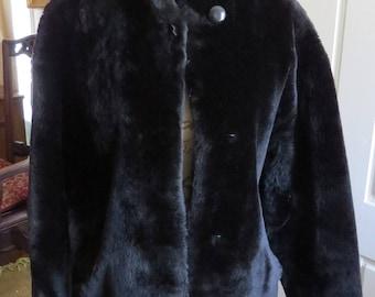Vintage Sawyer of Napa Black Mouton Lamb Fur Coat Jacket Women's Medium M 8/10/12 Made in USA