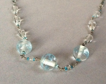 Sterling Silver and Pale Blue Lampwork Bead Necklace