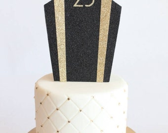 Gatsby Art Deco Glittery with Number Cake Topper, Black and Gold, Roaring 20s, 1920s, Birthday, Wedding, Cardstock, OverTheTopCakeTopper