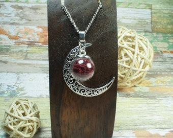 Red moon pendant. Blood moon necklace. Moon jewelry. Planetary necklace.  Red moon jewelry. Moon art pendant. Fantasy necklace. Gift ideas