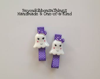 Ghosts | Purple Ribbon | Hair Clips for Girls | Toddler Barrette | Kids Hair Accessories | No Slip Grip | Halloween