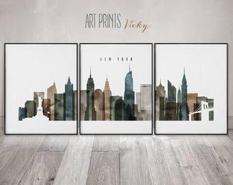 New York 3 set of print, New York 3 poster set, Wall art, travel, NYC large wall art, NYC skyline set, city art, home decor, ArtPrintsVicky