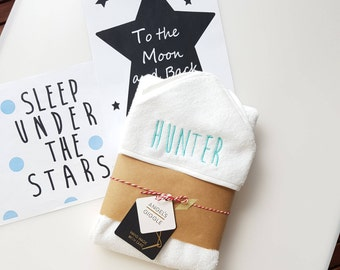 Personalised Baby Hooded Towel/ White Baby Hooded Towel/ Christmas gifts for baby