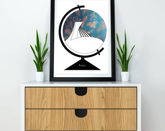 8.5x11'' Poster, Illustration Olympic Stadium of Montreal in a Globe, Minimalist, Graphic Design. Globe