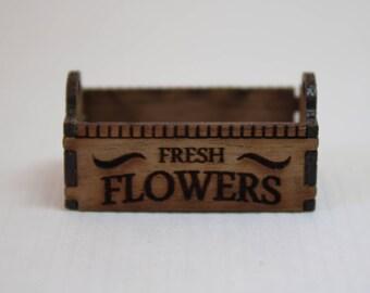 "Dollhouse Miniature Handmade Lasercut ""Fresh Flowers"" Crate or Planter Box (1/12 Scale)"