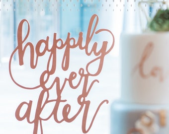 Happily Ever After Laser Cut Sign - Wood Calligraphy Sign - Wedding Backdrop Sign - Calligraphy Wedding Sign -