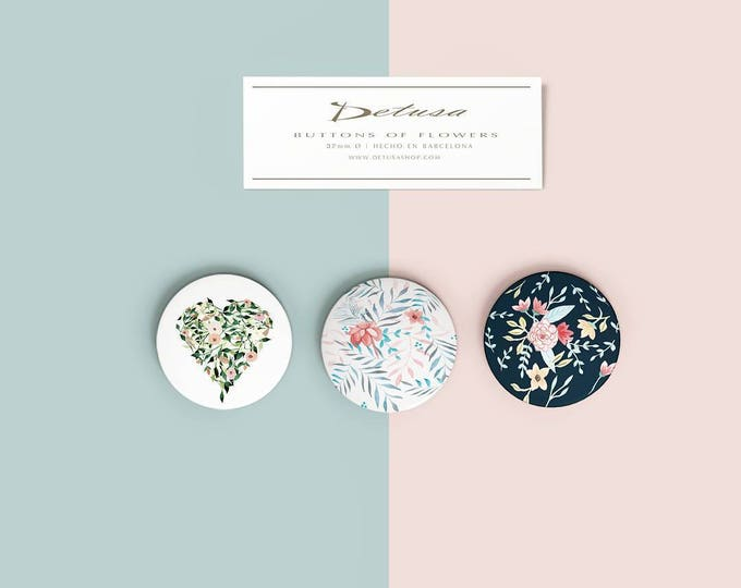 Pin back button tropical flower| Button floral | Pin back button tropical flower | Pinback to bag | Pinback Buttons to jacket or backpack