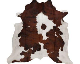 Cowhides UK - Genuine Cowhide Tricolour - Leather Rug Handpicked - Natural Cowhide