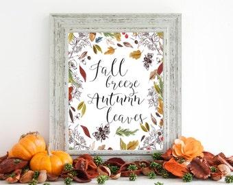 Fall Wall Art print, fall decor, autumn printable wall art print, fall breeze, autumn leaves, printable art, home decor, fall prints, F100