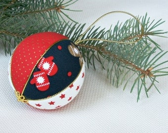 Christmas ornament red rustic Christmas tree decor Xmas ball bauble decoration gift nursery decor Christmas traditional holiday tree toys