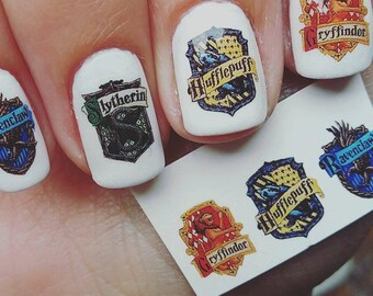 Harry Potter Nail Decals - Gryffindor, Slytherin, Hufflepuff, Ravenclaw, Deathly Hallows