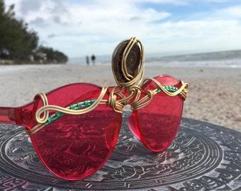 THIRD EYE Ammonite Fossil Shell Centerpiece, Red Mood Sunglasses, Unisex Mens Woman Sunglasses, SPUNGLASSES, Burning Man Festival Sunglasses
