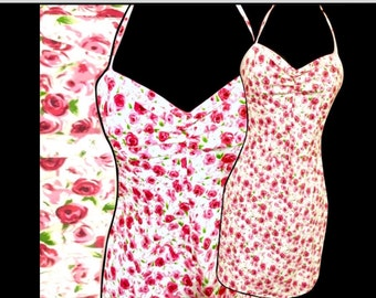 BETSEY JOHNSON Rose Floral Multi Color Corset/Lace-Up Spaghetti Strap Wiggle Sundress S/M