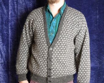 Nico 80s Cardigan Vintage Grey whitedots Winter cardigan Norwegian cardigan buttons down Mens cardigan medium large