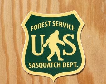 Sasquatch Sticker -- Bigfoot Sticker -- Sasquatch Decal -- Yeti -- Forest Service -- Bigfoot Decal -- Northwest Sticker -- Camping -- PNW