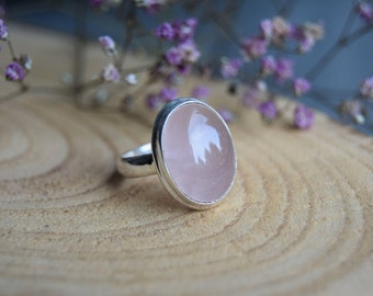 Rose Quartz Ring, Sterling Silver Ring, Boho Ring, Size 8.5 ring, Handmade Jewelry, Gemstone Ring, Delicate ring, Gift for women, Pink ring