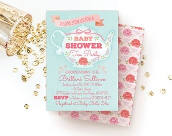 tea party baby shower invitation high tea baby shower tea party invite pink