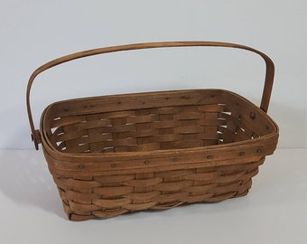 Longaberger Handwoven Basket,  Single Swinging Bail Handle - 1984, Vintage Collectible