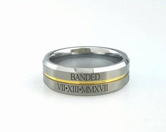 Tungsten Wedding Band, Gold Ridge Roman Numeral Anniversary Date, Anniversary Ring for Him Her Husband Men