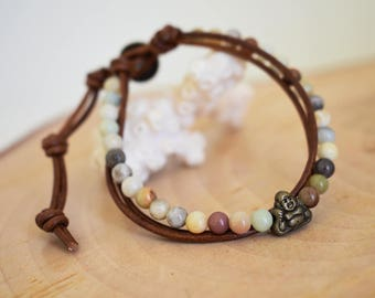 Bouddha bracelet, Women leather bracelet, Beaded bracelet, Amazonite stone bracelet, Bohemian, Multi rows bracelet, Boho women jewelry, Gift