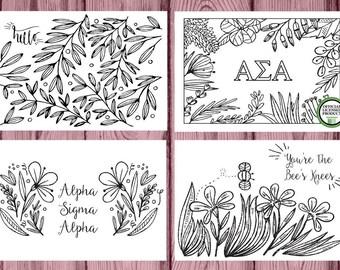 Alpha Sigma Alpha ASA | 12 Coloring Notecards | Sorority Recruitment Bid Day Reveal | Big Little Gift | Study Break | Back to School | Greek