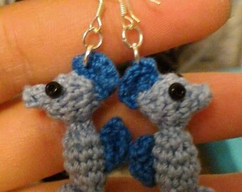 Seahorse amigurumi crochet earrings - blue