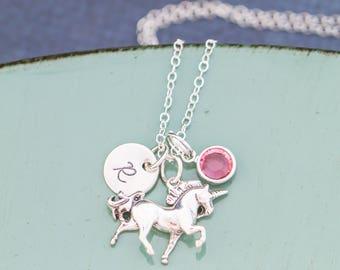 Unicorn Necklace • Girls Birthday Present Christmas Unicorn Party Favor Unicorn Charm Sterling Silver Unicorn Jewelry • Mythical Unicorn