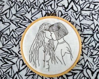 Lesbian wedding gift for lesbians kissing art embroidery design Love is love LGBT pride gift for friend Lesbian bachelorette gift home decor