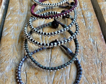 Boho Leather and Sterling Summer Bracelet