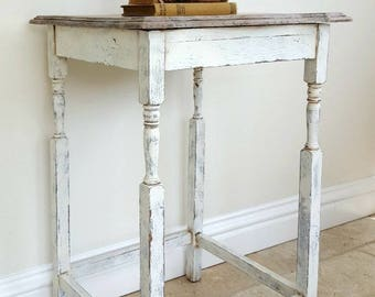 Vintage Table, Oak Table, Shabby Chic Table, White Table, Farmhouse Style, Hall Table, French Country, Rustic Table