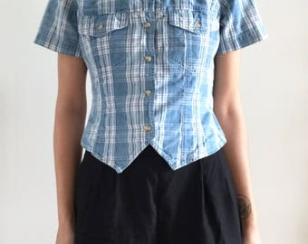 Vintage 90s Blue and White Plaid Button Up Crop Top
