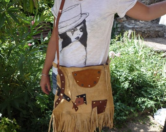 Fringed suede leather shoulder bag