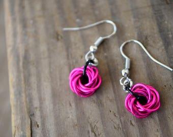 mobius flower earrings, chainmaille earrings, mobius earrings, chainmaille jewelry, pink chainmaille earrings, hot pink earrings, hot pink