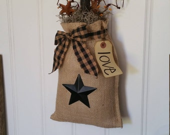 Star Burlap Bag With LED Battery Operated Timer Candle, Berries And  PERSONALIZED Tag, Decorated
