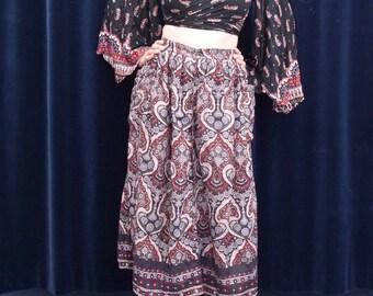 1980s skirt Oberoi 80s 90's Vintage Gauze skirt Indian Block Print skirt Boho Bohemian Chic Hippie Festival skirt small medium size / V1
