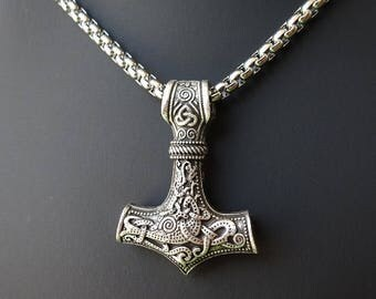 Mjolnir, Mjolnir Necklace, Viking Pendant, Thors Hammer, Mjolnir Pendant, Viking Necklace, Amulet Norse Necklace, Norse Mythology, Hammer