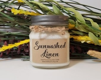 8oz Sunwashed Linen Soy Candle - Scented Candles - Housewarming Gift - Teacher Gift - Mason Jar Candles - Natural Candle - Clean Scent