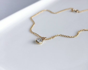 Dainty gold Anklet. CZ ankle bracelet chain. Cubic zirconia anklet. Minimalist gold ankle. Gold and cz anklet. Pease