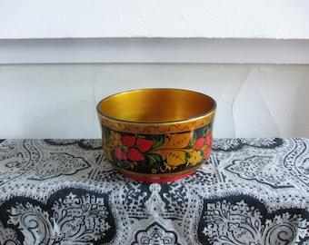 Vintage KHOKHLOMA hand-painted RUSSIAN SIBERIAN bowl