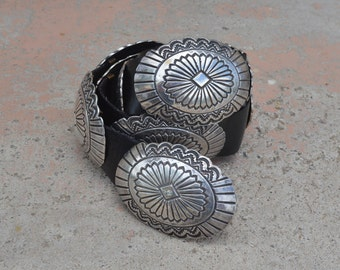 Vintage Navajo Old Pawn Sterling Silver Concho Belt 374 Grams