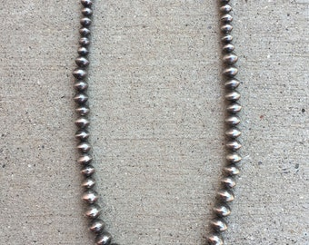 Vintage Navajo Sterling Silver Graduated Stamped Bead Necklace 130 Grams