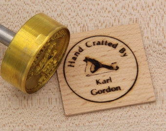 "1.5"" Round ""Hand Crafted By"" with Hand Plane Custom Text Branding Iron"