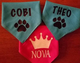 Personalized Dog bandana with name and paw print decal or crown decal. Fun gift idea for a fur baby!