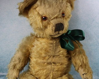 Vintage Merrythought Straw filled mohair teddy bear 1940s