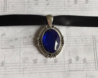 Blue Choker Necklace, Choker Necklace, Blue Choker, Blue Necklace, Goth Choker, Victorian Choker, Victorian Choker Necklace, Gift under 25