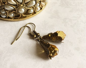 Amber Crystal Earrings, Amber Jewelry, Amber Drop Earrings, Crystal Jewelry, Crystal Earrings Boho, Amber Earrings, Gift under 20